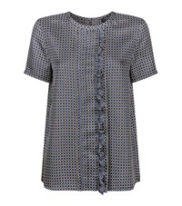 Max Mara Ruffle Square Print Top Female Blue