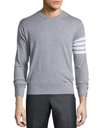 Thom Browne Merino Wool Crewneck Sweater Light Gray