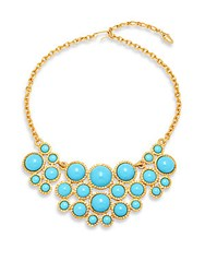 Kenneth Jay Lane Turquoise And Goldtone Metal Bib Necklace