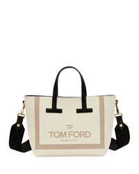 4fa4875af9b9 Tom Ford Printed Canvas And Leather T Tote Bag Light Beige