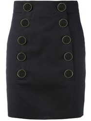 Dolce And Gabbana Buttoned Mini Skirt Blue