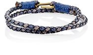 Caputo And Co Braided Leather Double Wrap Bracelet Blue