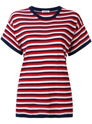 P.A.R.O.S.H. Striped Knitted T Shirt Women Silk Cashmere S Blue