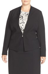 Plus Size Women's Sejour 'Ela' Satin Trim Jacket
