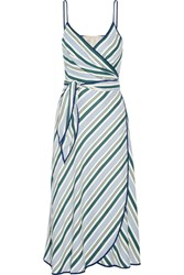 Tory Burch Villa Striped Satin Twill Wrap Dress Blue