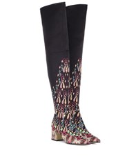 Etro Printed Over The Knee Boots Black