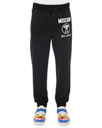 Moschino Logo Print Pull On Sweatpants Black Women's
