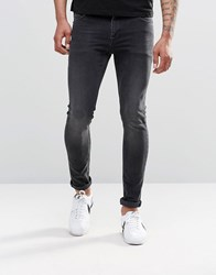 Asos Super Skinny Jeans In 12.5Oz In Washed Black Black