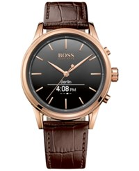 Boss Hugo Men's Smart Classic Brown Leather Strap Smart Watch 44Mm 1513451