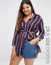 Alice And You Longline Stripe Shirt Multi
