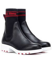 Miu Miu Leather Ankle Boots Black