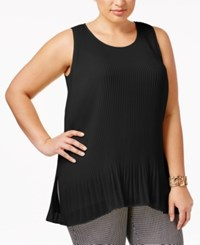 Alfani Plus Size Sleeveless Pleated Top Only At Macy's Deep Black
