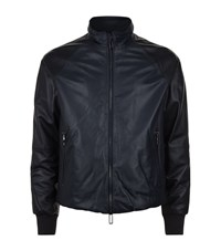 Emporio Armani Two Tone Padded Leather Jacket Male Blue