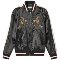 Saint Laurent Floral Embroidered Teddy Jacket Black