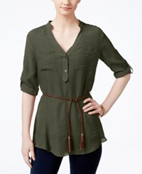 Amy Byer Bcx Juniors' Roll Tab Sleeve Belted Tunic Olive