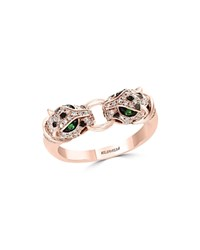 Bloomingdale's Diamond And Tsavorite Double Panther Ring In 14K Rose Gold 0.33 Ct. T.W. 100 Exclusive White Rose