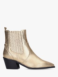 Carvela Stella Leather Western Style Ankle Boots Gold