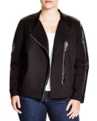 Nydj Plus Faux Leather Trim Ponte Moto Jacket