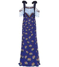 Mary Katrantzou Fil Coupe Maxi Dress Blue