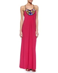 T Bags Bead Embellished Maxi Dress Fuchsia Pink