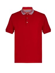 Missoni Contrast Collar Cotton Polo Shirt Red