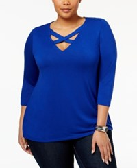 Inc International Concepts Plus Size Cutout Top Only At Macy's Goddess Blue