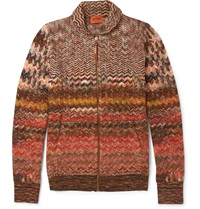Missoni Zig Zag Patterned Crochet Knit Cardigan Brown