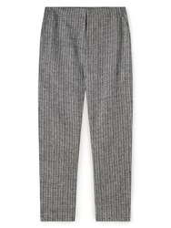 Dash Texture Linen Stripe Trousers Navy