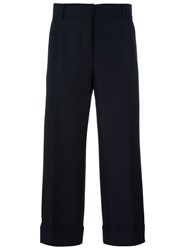 Thom Browne Wide Leg Cropped Trousers Blue