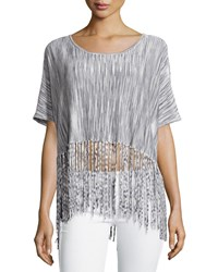 Minnie Rose Fringed Space Dye Crop Top Gray Combo