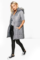 Boohoo Quilted Longline Faux Fur Hooded Gilet Grey