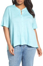 Eileen Fisher Plus Size Women's Organic Linen Jersey Mandarin Collar Top Scarb
