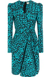 Lanvin Gathered Cotton Blend Jacquard Mini Dress Turquoise