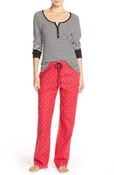 Women's Betsey Johnson Ribbed And Flannel Pajamas