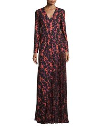 J. Mendel Ikat Printed Pleated Inset Gown Super Pink Multi