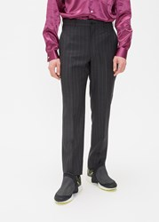 Comme Des Garcons Homme Plus 'S Wool Mohair Chalk Stripe Trouser Pants In Dark Navy Size Small Wool Mohair Cupro Lining