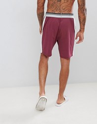 Asos Design Pyjama Shorts In Short Length With Stripe Waistband Red