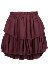 Loveshackfancy Tiered Pleated Silk Crepe De Chine Mini Skirt Burgundy
