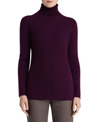 Lafayette 148 New York Cashmere Long Sleeve Turtleneck W Side Slits Roselle