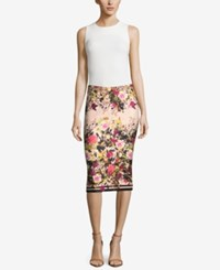 Eci Floral Print Pencil Skirt Ivy Pink