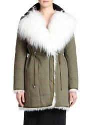 Altuzarra Hastings Mongolian Lamb Fur And Cotton Parka Army Green
