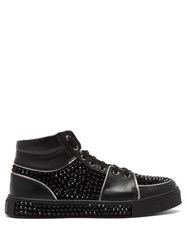 Balmain Strass High Top Leather Trainers Black