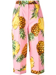 Dolce And Gabbana Pineapple Print Cropped Trousers Pink Purple