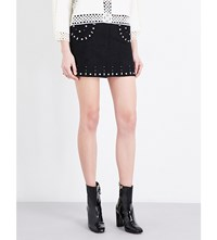 Sandro Embellished Suede Skirt Black