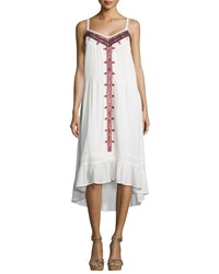 Cynthia Vincent Western Embroidered Cotton Voile Dress Ivory