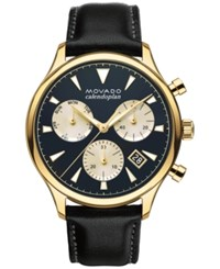 Movado Men's Swiss Chronograph Heritage Series Calendoplan Black Leather Strap Watch 43Mm 3650006 No Color