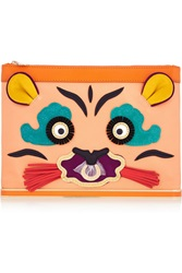 Charlotte Olympia Tiger Island Appliqued Satin Pouch