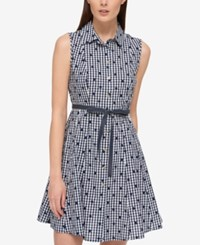 Tommy Hilfiger Cotton Printed Shirtdress Only At Macy's Navy Ivory