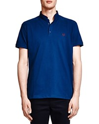 The Kooples Silm Fit Stand Collar Polo Shirt Blue