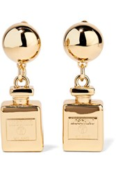 Moschino Gold Plated Clip Earrings One Size